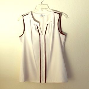 Calvin Klein Sleeveless Contrast-Trim Blouse Small